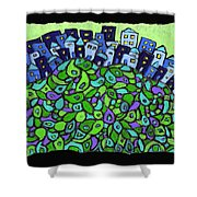 Blue City On A Hill Shower Curtain