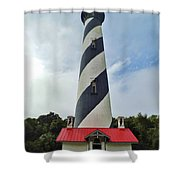 Blue Clouds At The Lighthouse Shower Curtain