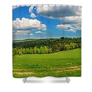 Blue Cloudy Sky Over Green Hills And Country Road Shower Curtain