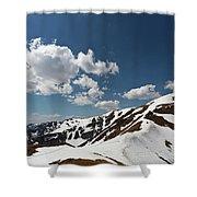Blue Cloudy Sky Over Spring Tatra Mountains, Poland, Europe Shower Curtain