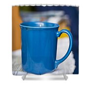 Blue Coffee Cup Shower Curtain