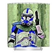 Blue Commander Stormtrooper At Work - Da Shower Curtain