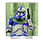 Blue Commander Stormtrooper At Work - Pa Shower Curtain