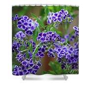 Blue Cottage Flowers Shower Curtain