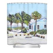 Blue Cottage On Siesta Key Beach, Access 3 Shower Curtain