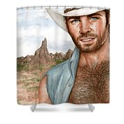 Blue Cowboy Shower Curtain