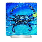 Blue Crab Abstract Shower Curtain