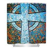 Blue Marbled Cross Shower Curtain
