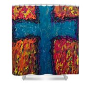 Blue Cross Shower Curtain