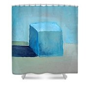 Blue Cube Still Life Shower Curtain
