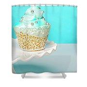 Blue Cupcake Shower Curtain