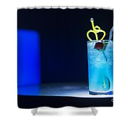 Blue Curacao Cocktail Drink With Cherry Shower Curtain