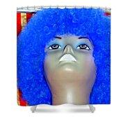 Blue Curled Cutie Shower Curtain