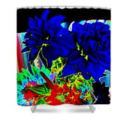 Blue Dahlias Shower Curtain