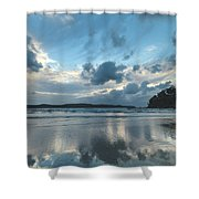 Blue Dawn Seascape With Cloud Reflections Shower Curtain