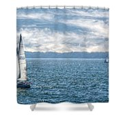 Blue Days On Lake Erie Shower Curtain