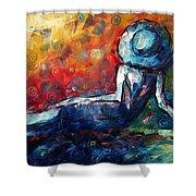 Blue Daze Original Madart Painting Shower Curtain