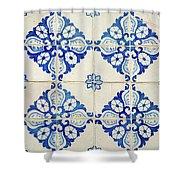 Blue Diamond Flower Tiles Shower Curtain