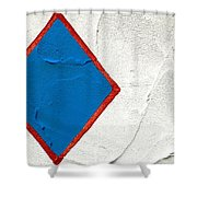 Blue Diamond Red Square White Wall  Shower Curtain