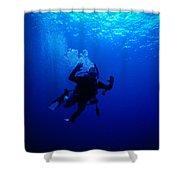 Blue Diver Shower Curtain