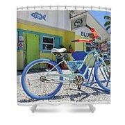 Blue Dog Matlacha Island Florida Shower Curtain