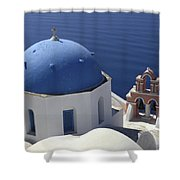 Blue Dome Pink Bell Tower Shower Curtain