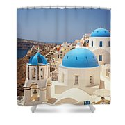 Blue Domed Churches Santorini Shower Curtain