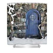 Blue Door In February Shower Curtain