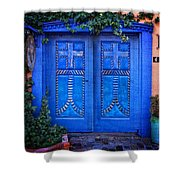 Blue Door In Old Town Shower Curtain