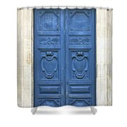 Blue Door In Paris Shower Curtain