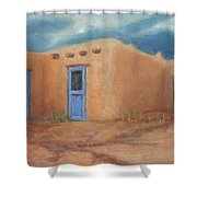 Blue Doors In Taos Shower Curtain by Jerry McElroy