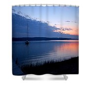 Blue Downtime Shower Curtain