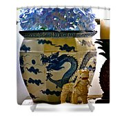 Blue Dragon And Hydrangeas Shower Curtain