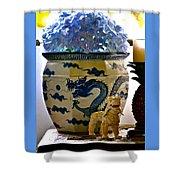 Blue Dragon And Hydrangeas Shower Curtain