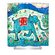Blue Elephant Facing Right Shower Curtain by Sushila Burgess