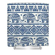 Blue Elephant With Ornaments Design Shower Curtain