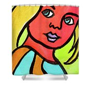 Blue Eyed Blonde Shower Curtain