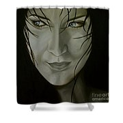 Blue-eyed Girl Shower Curtain