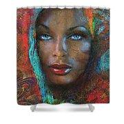 Blue Eyes Dark Oriental Shower Curtain