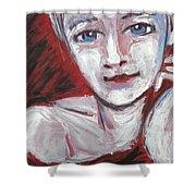 Blue Eyes - Portrait Of A Woman Shower Curtain