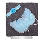 Blue Feather Angel Wings And Headband Shower Curtain