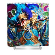 Blue Feather Carnival Costume And Colorful Background Horizontal Shower Curtain