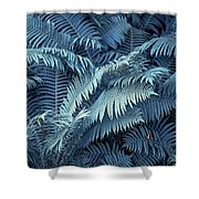 Blue Fern Leaves Abstract. Nature In Alien Skin Shower Curtain