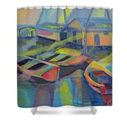 Blue Fishing Village Shower Curtain