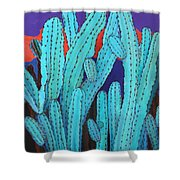 Blue Flame Cactus Acrylic Shower Curtain