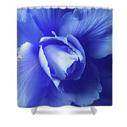 Blue Floral Begonia Shower Curtain
