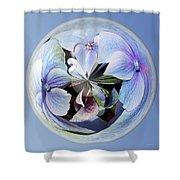 Blue Flower Orb Shower Curtain