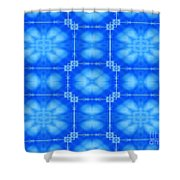 Blue Flowers Abstract Shower Curtain
