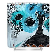 Blue Flowers In A Vase Shower Curtain