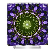 Blue Flowers Kaleidoscope Shower Curtain